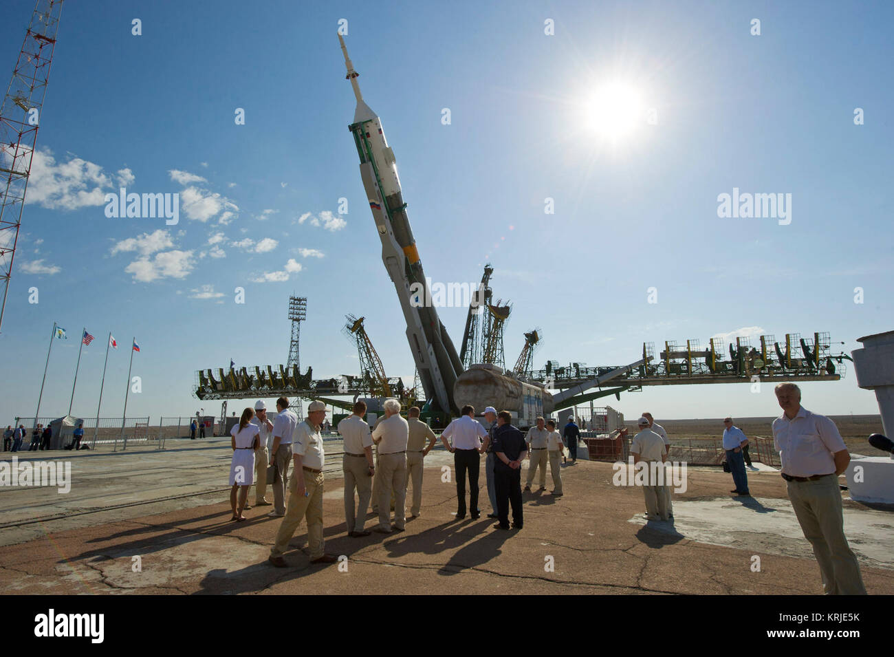 The Soyuz TMA-02M spacecraft is raised into vertical position at the launch pad at the Baikonur Cosmodrome in Kazakhstan, - Stock Image
