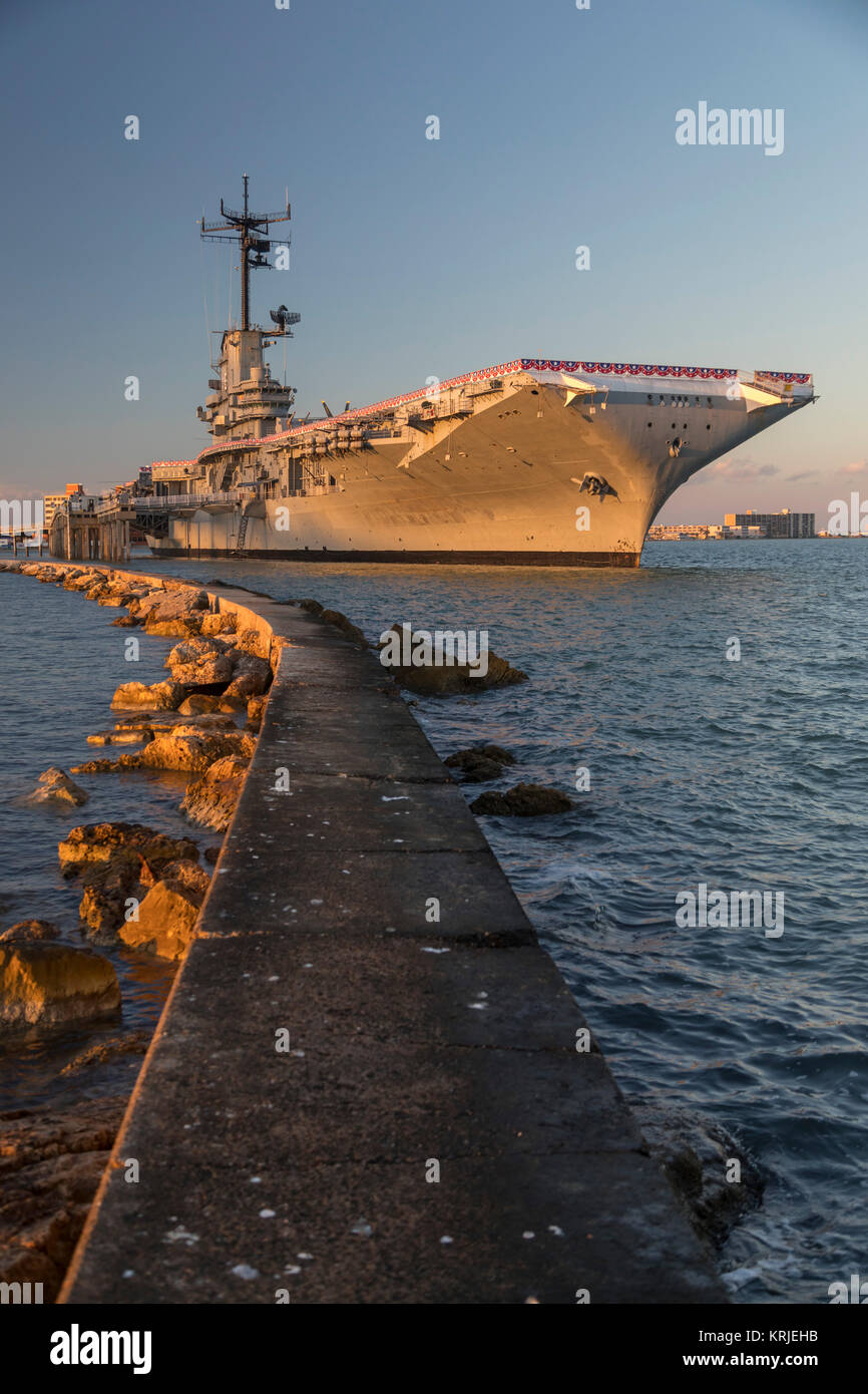 Corpus Christi, Texas - The USS Lexington, a World War II aircraft carrier, which is now a naval museum. - Stock Image