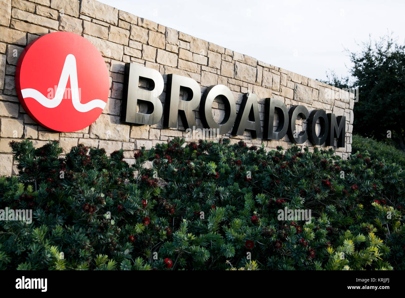 A logo sign outside of the headquarters of the Broadcom