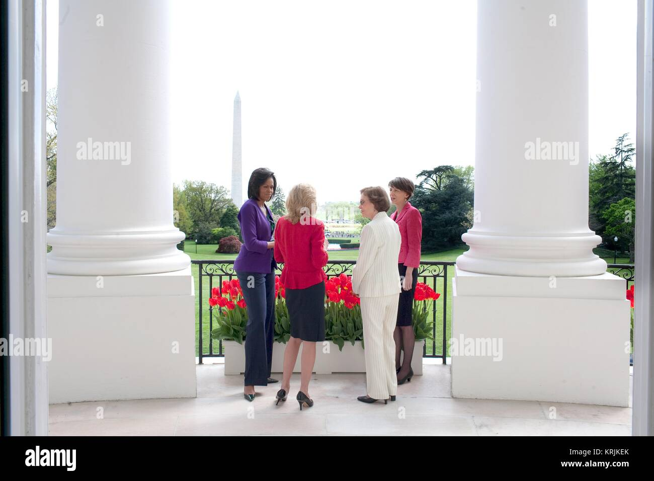 U.S. First Lady Michelle Obama (left) speaks with Second Lady Jill Biden, former First Lady Rosalynn Carter, and Stock Photo