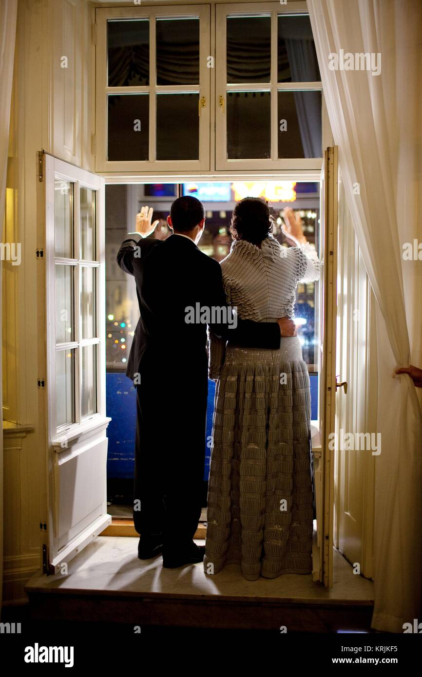 U.S. President Barack Obama and U.S. First Lady Michelle Obama wave from a balcony December 10, 2009 in Oslo, Norway. Stock Photo