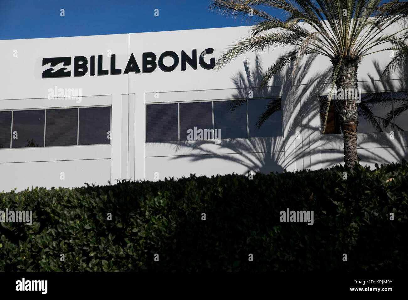 A logo sign outside of a facility occupied by Billabong International in Irvine, California, on December 9, 2017. - Stock Image
