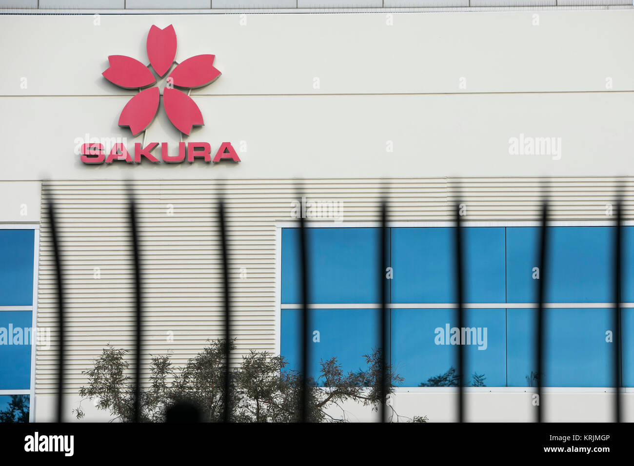 A logo sign outside of a facility occupied by Sakura Finetek in Torrance, California, on December 10, 2017. - Stock Image