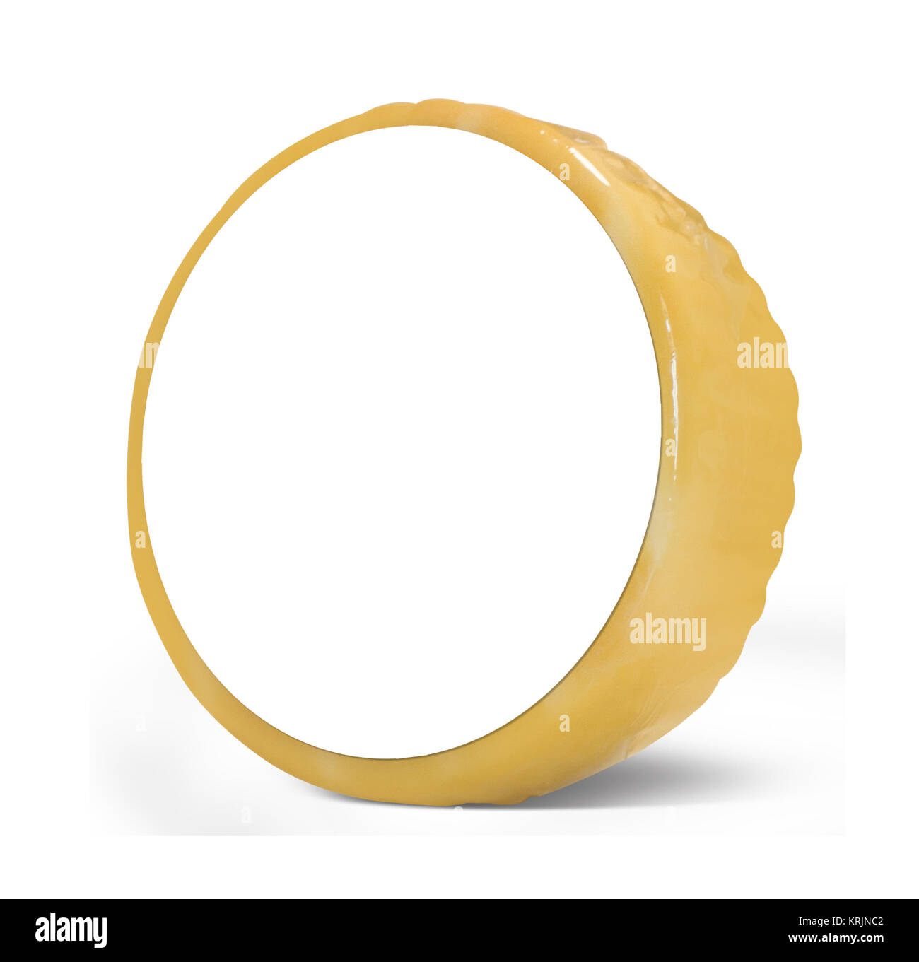 3D illustration yellow cheese white background - Stock Image