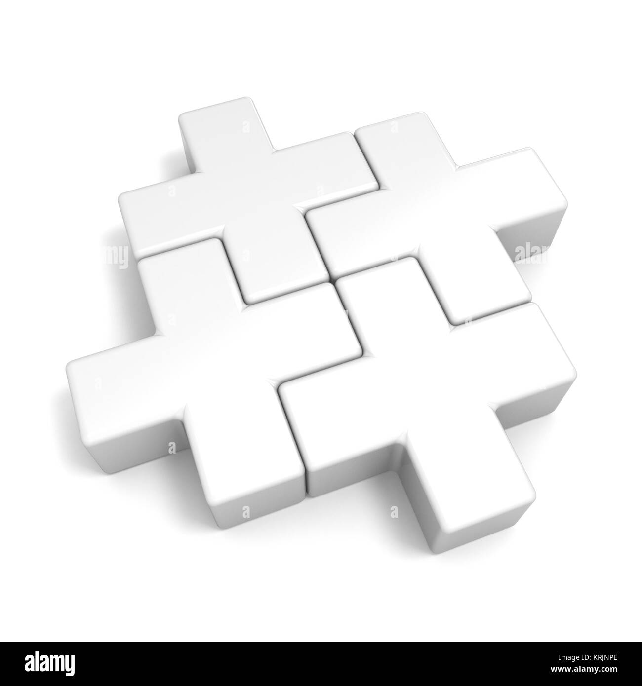 White Abstract Plus Jigsaw Puzzle Pieces 3D