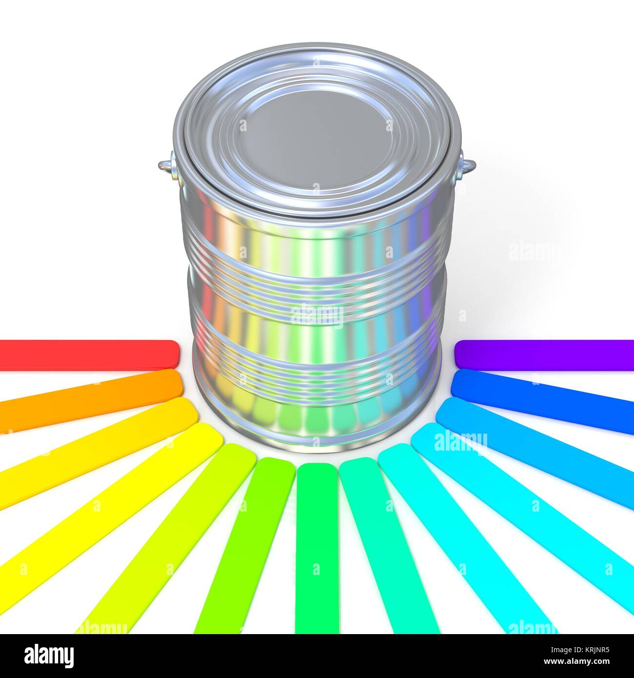 Colors guide reflection on a tin. 3D - Stock Image