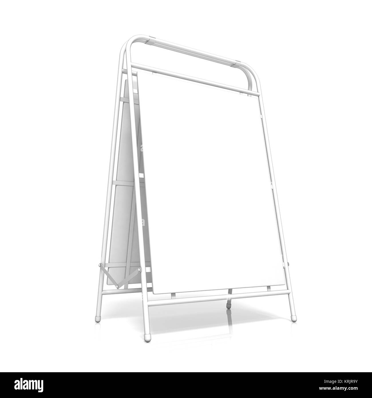 White advertising stand, with copy space board. Side view. 3D - Stock Image