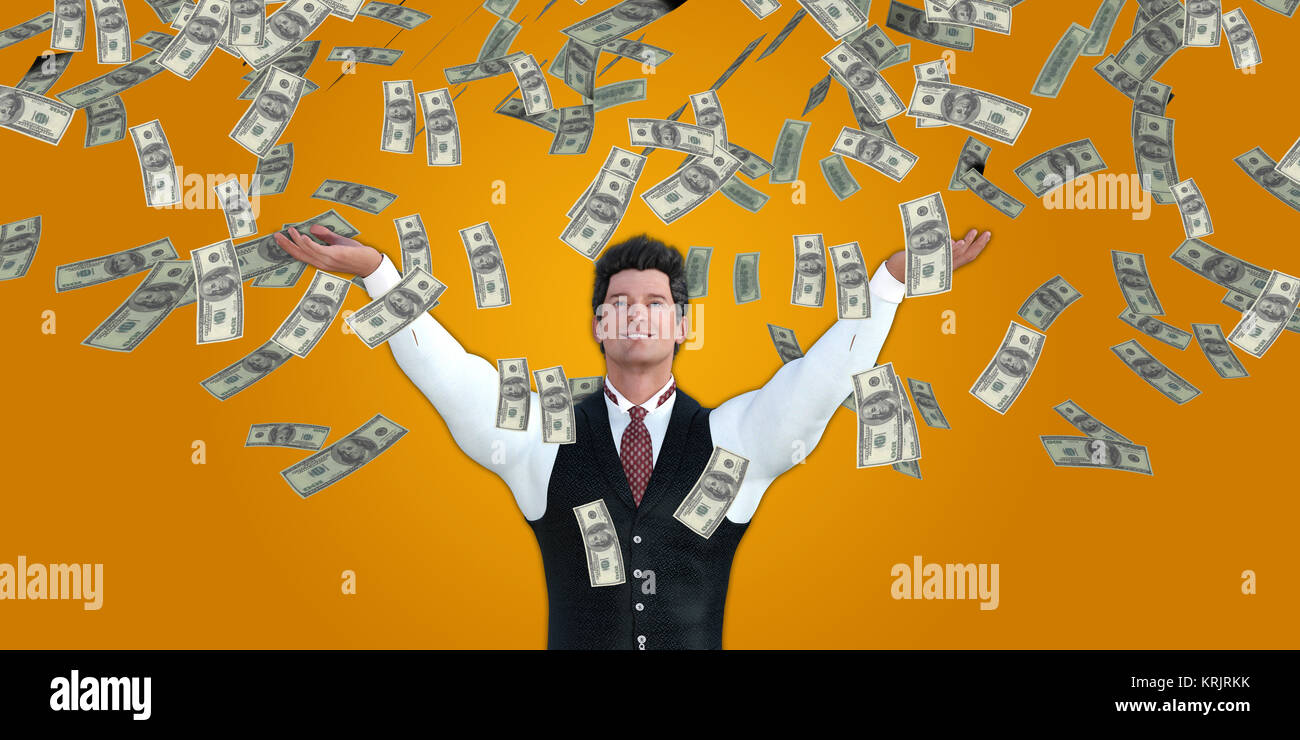 Corporate Business Man Catching Money Falling From the Sky - Stock Image