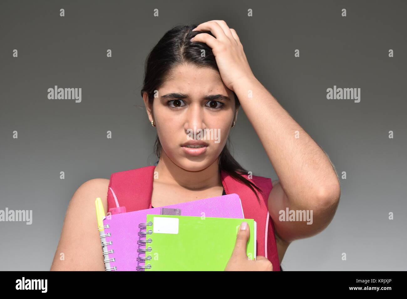 Stressful Female Student - Stock Image