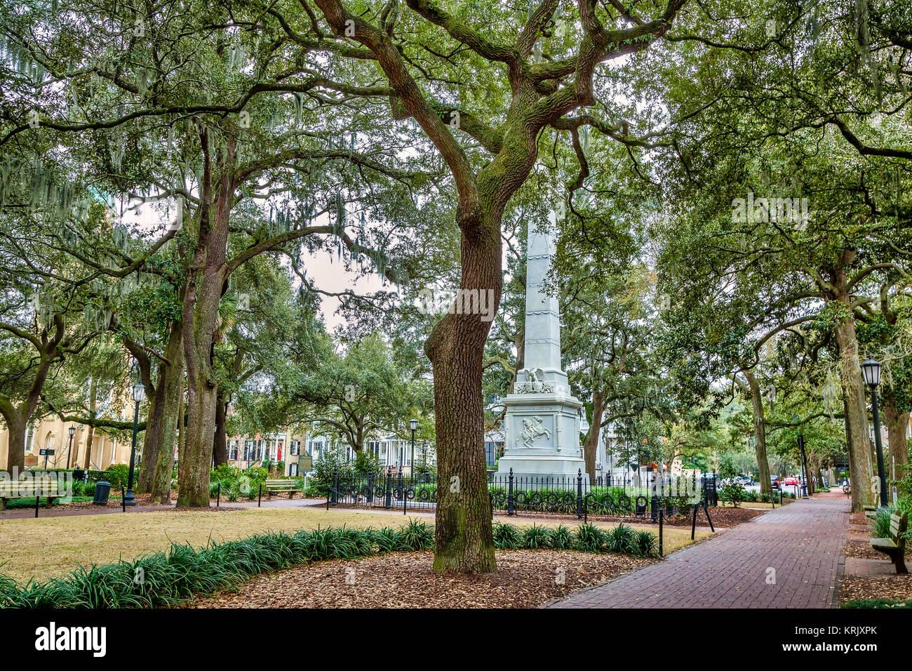 Monterey Square in Savannah, Georgia - Stock Image