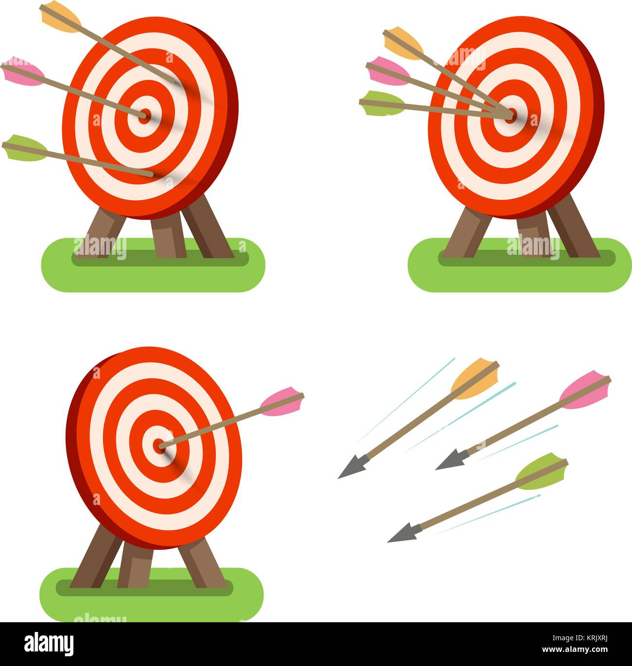 Arrows and round target standing on tripod. Purpose, goal, accuracy icon or symbol. Vector illustration - Stock Image