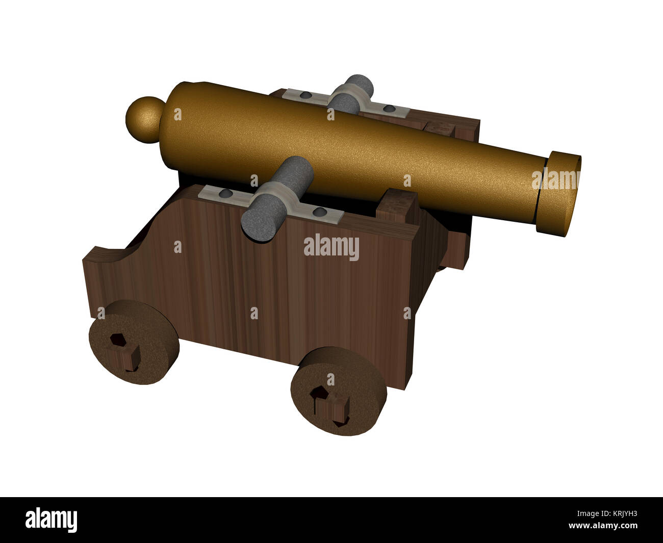 exempted cannon on gun carriage - Stock Image