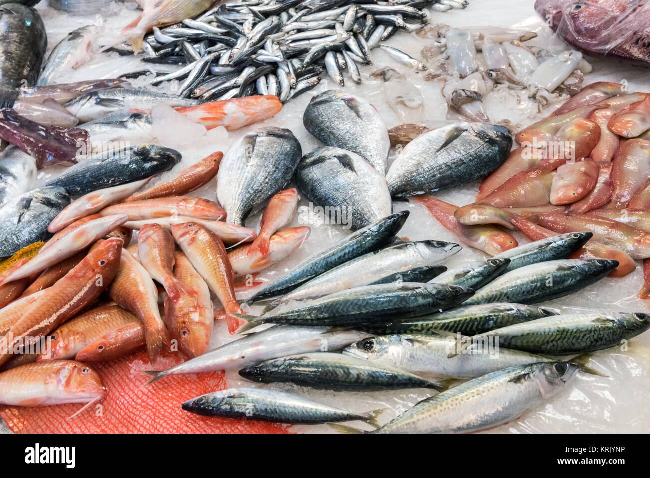 large selection of fish at a market in palermo,sicily Stock Photo