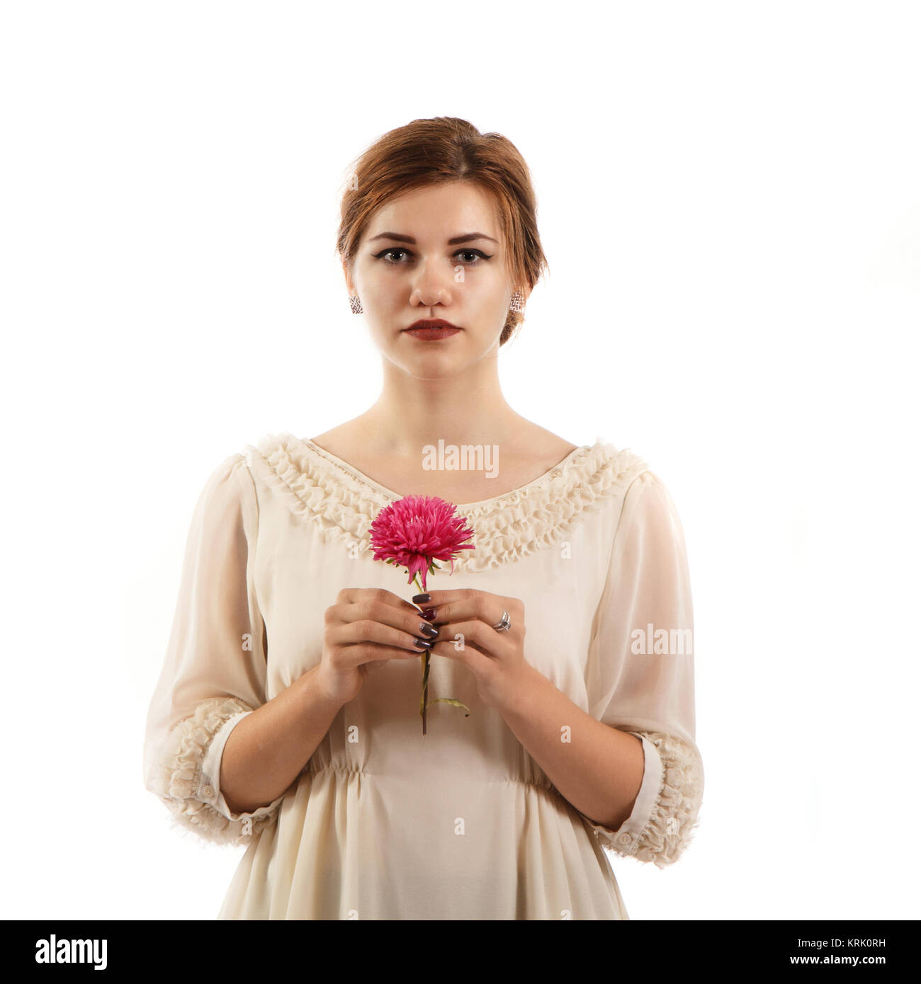 Female portrait with flower - Stock Image