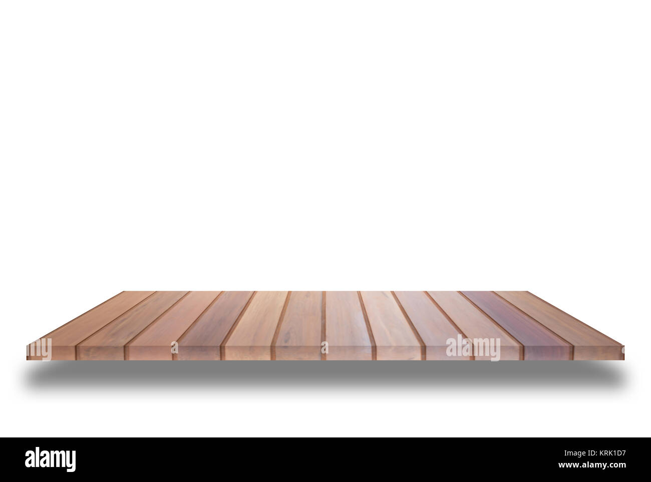 Brown wooden shelf isolated on white background - Stock Image