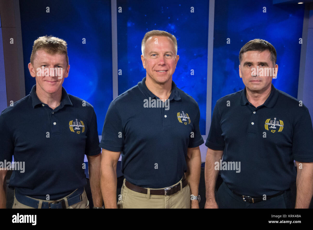 Date: 09-24-15 Location: Bldg 2, Studio B Subject: Expedition 46/47 press conference with crew Timonty Peake, Yuri - Stock Image