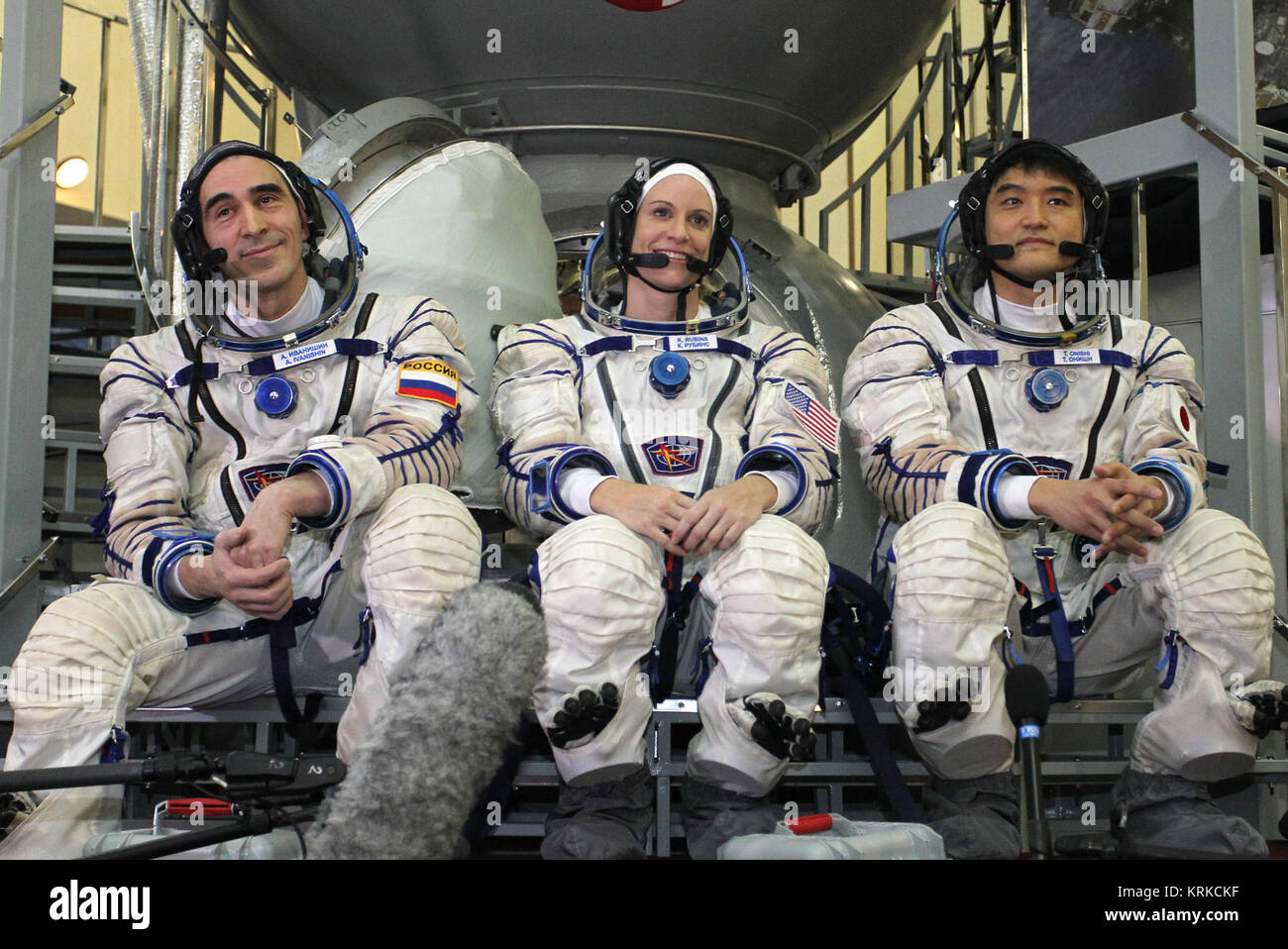 At the Gagarin Cosmonaut Training Center in Star City, Russia, Expedition 46-47 backup crewmembers Anatoly Ivanishin - Stock Image