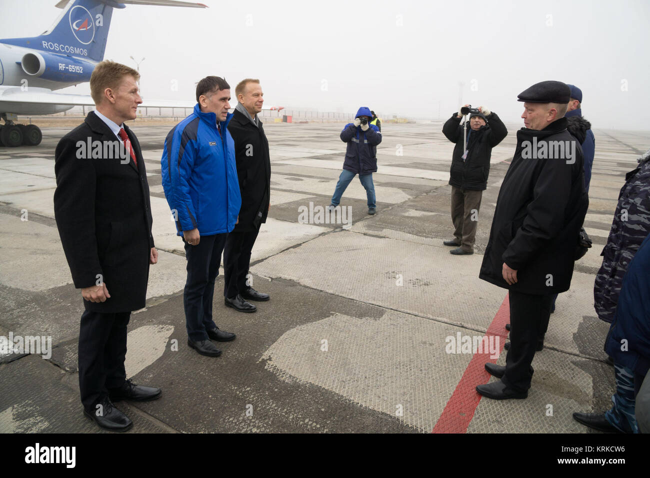 The Expedition 46-47 crewmembers arrive in Baikonur, Kazakhstan Nov. 30 for final pre-launch training following - Stock Image