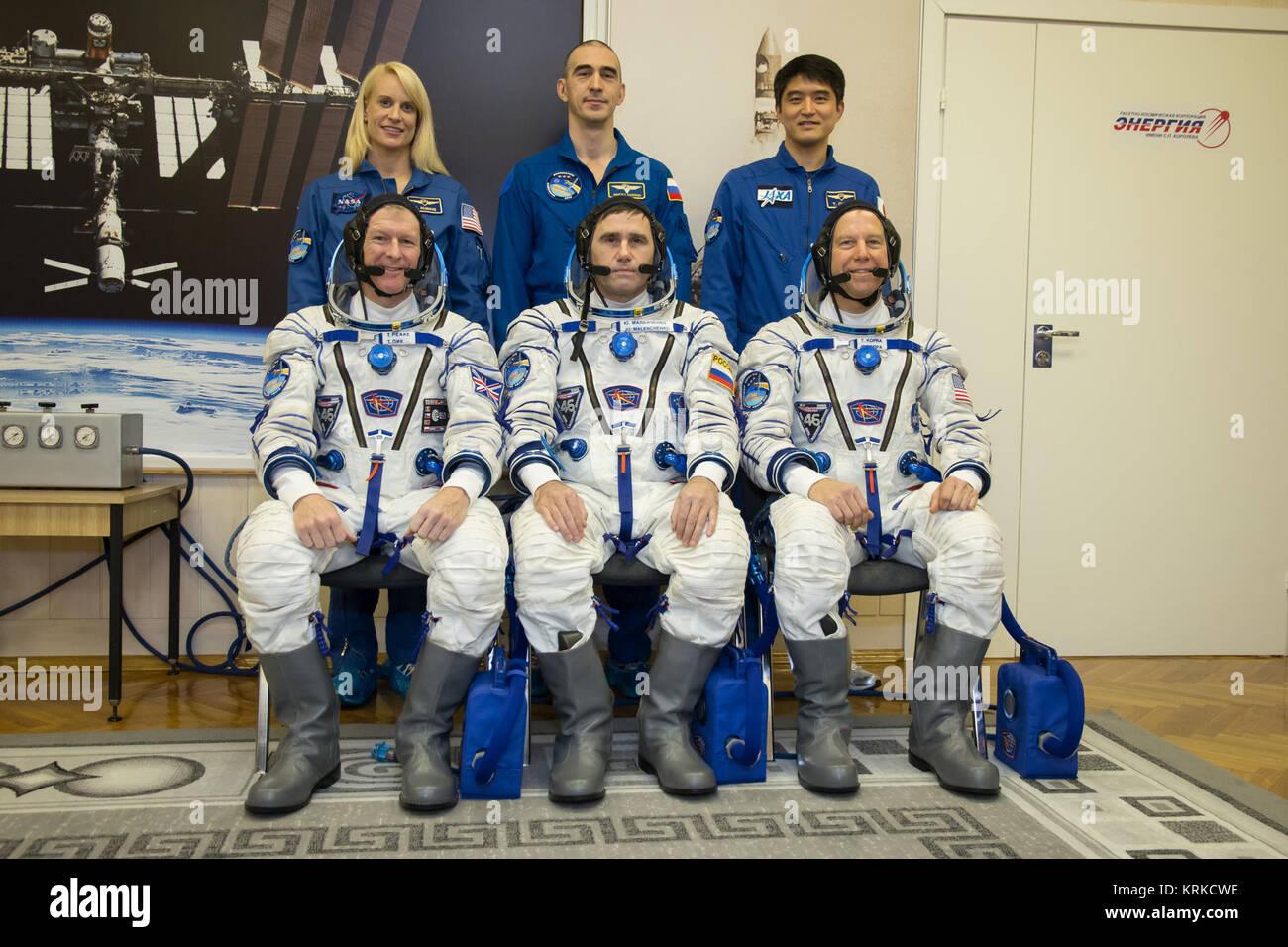 Soyuz TMA-19M crew with backup crew at the Baikonur Cosmodrome - Stock Image