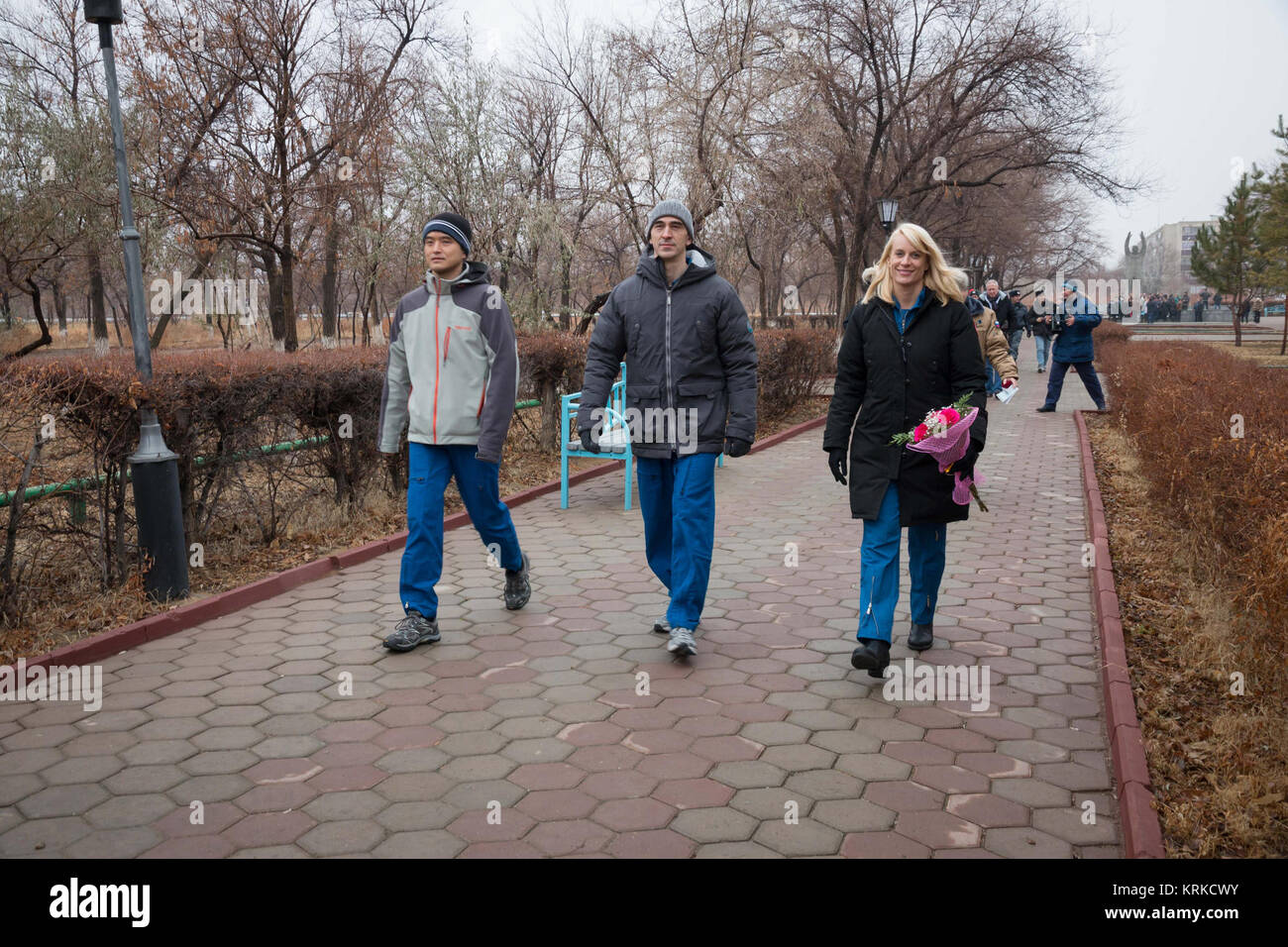 The Expedition 46-47 backup crewmembers took a break from their training Dec. 2 as they walked through the city - Stock Image