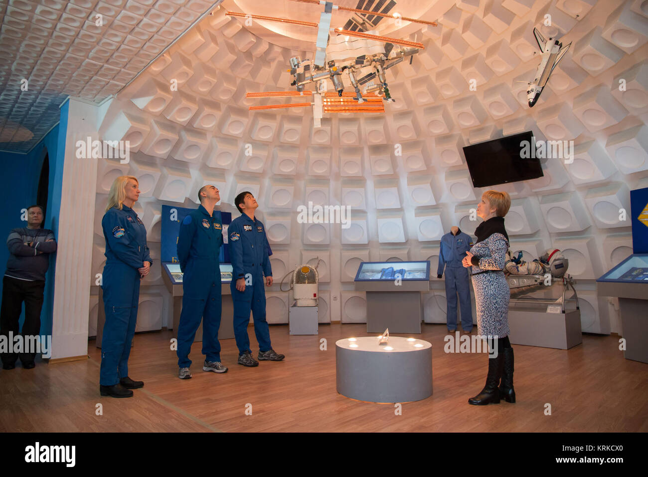 During a tour of the museum in the city of Baikonur, Kazakhstan Dec. 2, the Expedition 46-47 backup crewmembers - Stock Image