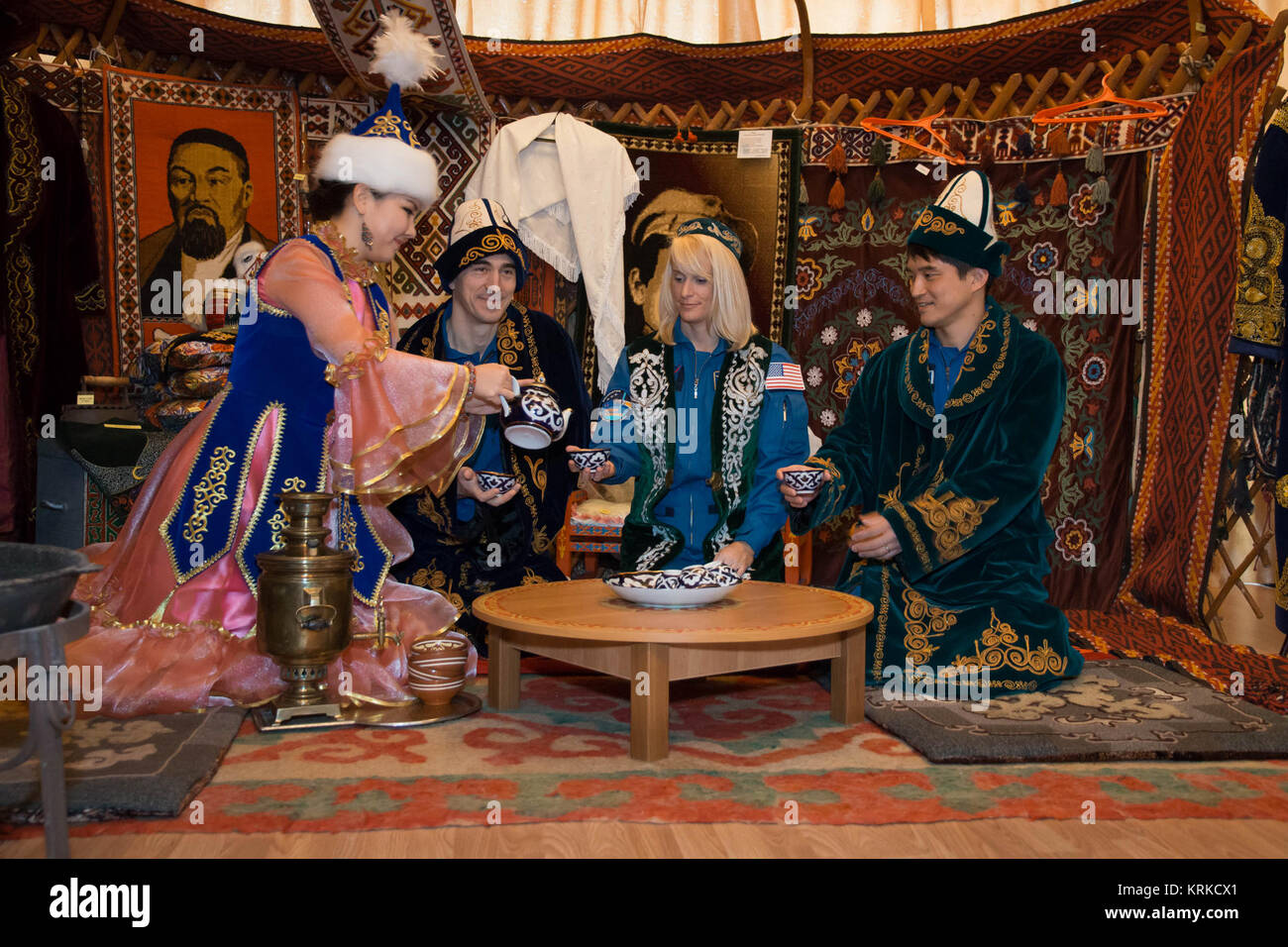 During a tour of the museum in Baikonur, Kazakhstan Dec. 2, the Expedition 46-47 backup crewmembers were treated - Stock Image