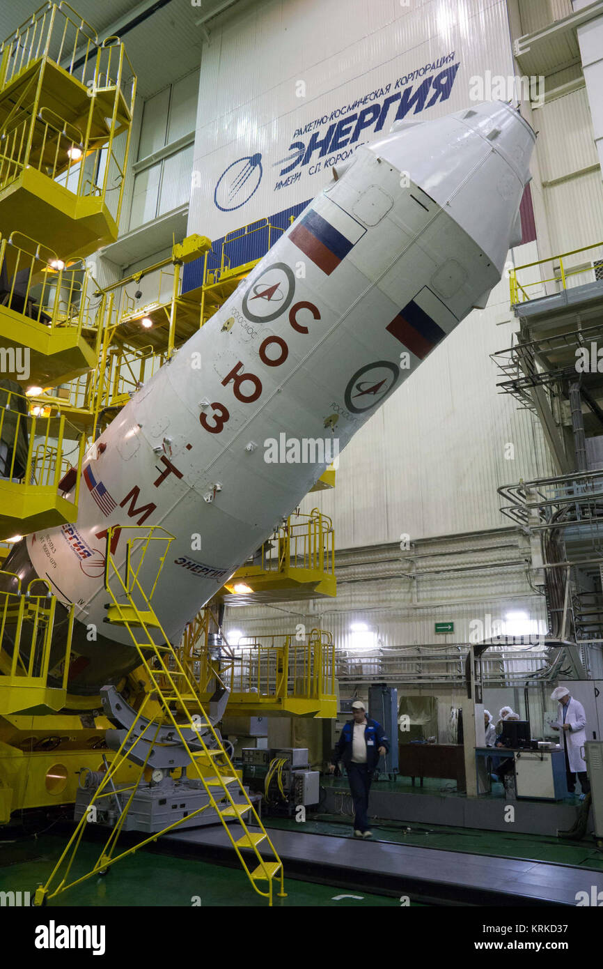 At the Integration Facility at the Baikonur Cosmodrome in Kazakhstan, the upper stage of a Soyuz booster rocket - Stock Image