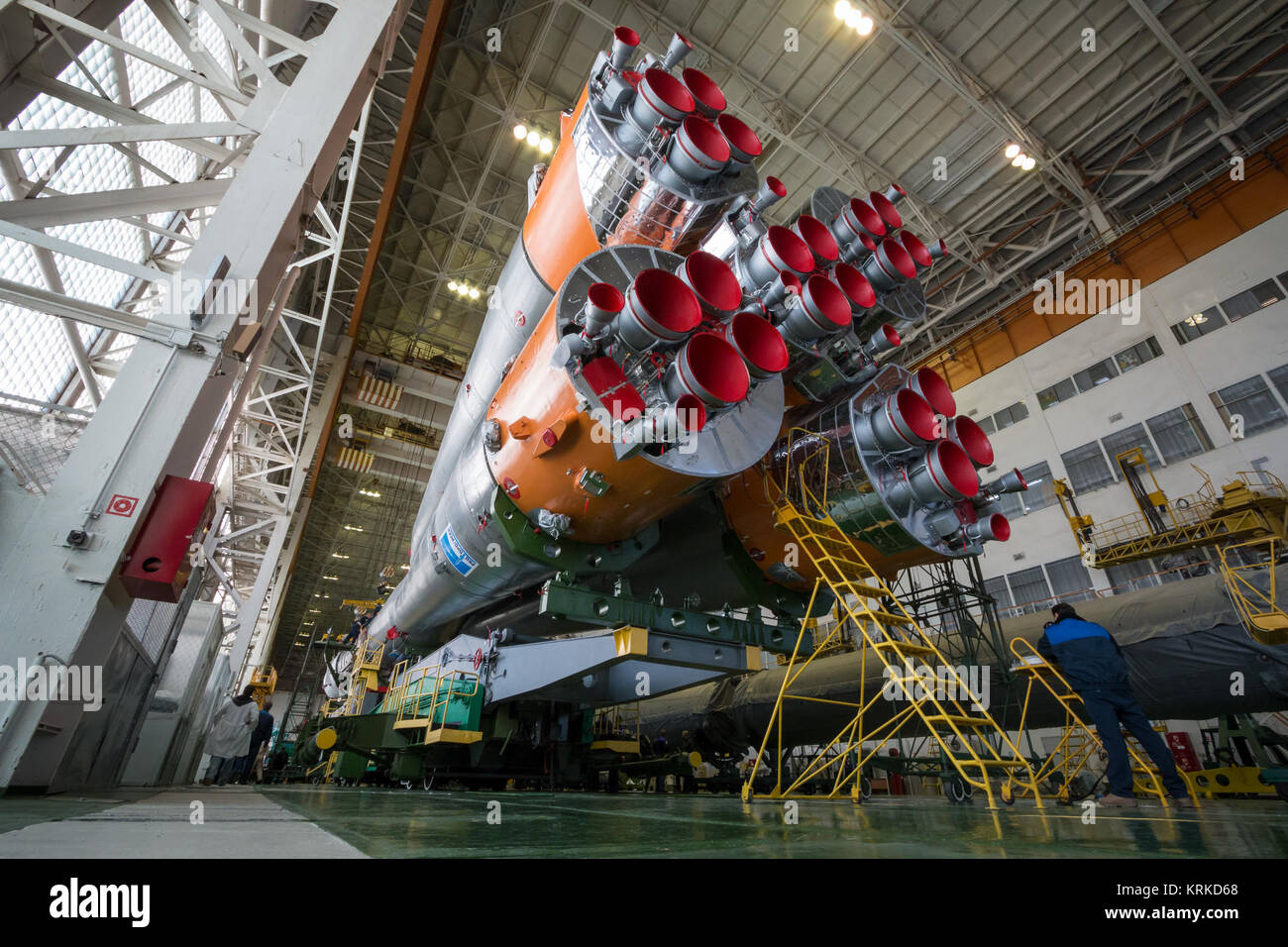 The Soyuz rocket and Soyuz TMA-19M spacecraft is seen after being assembled in Building 112 on the Baikonur Cosmodrome - Stock Image