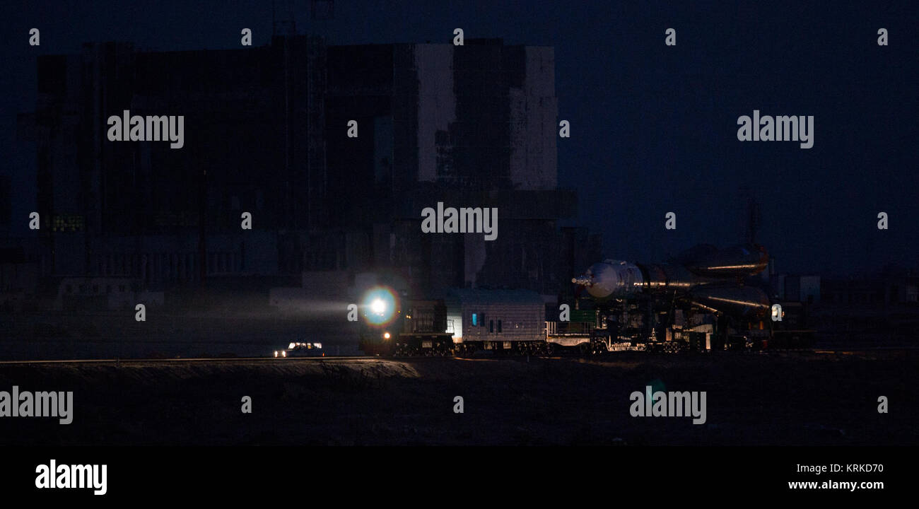 The Soyuz TMA-19M spacecraft is rolled out by train to the launch pad at the Baikonur Cosmodrome on Sunday, Dec. - Stock Image