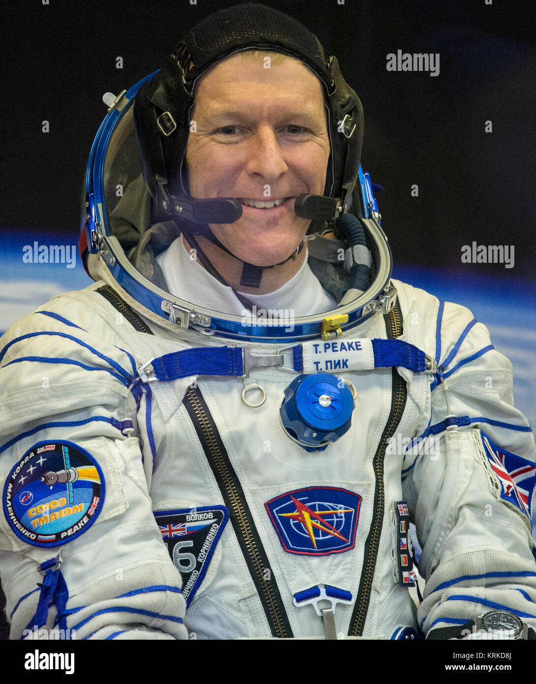 Expedition 46 Flight Engineer Tim Peake is seen before having his Russian Sokol Suit pressure checked in preparation - Stock Image