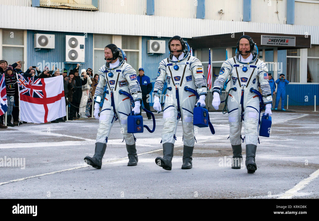 Expedition 46 Flight Engineer Tim Peake of ESA (European Space Agency), left, Soyuz Commander Yuri Malenchenko of - Stock Image