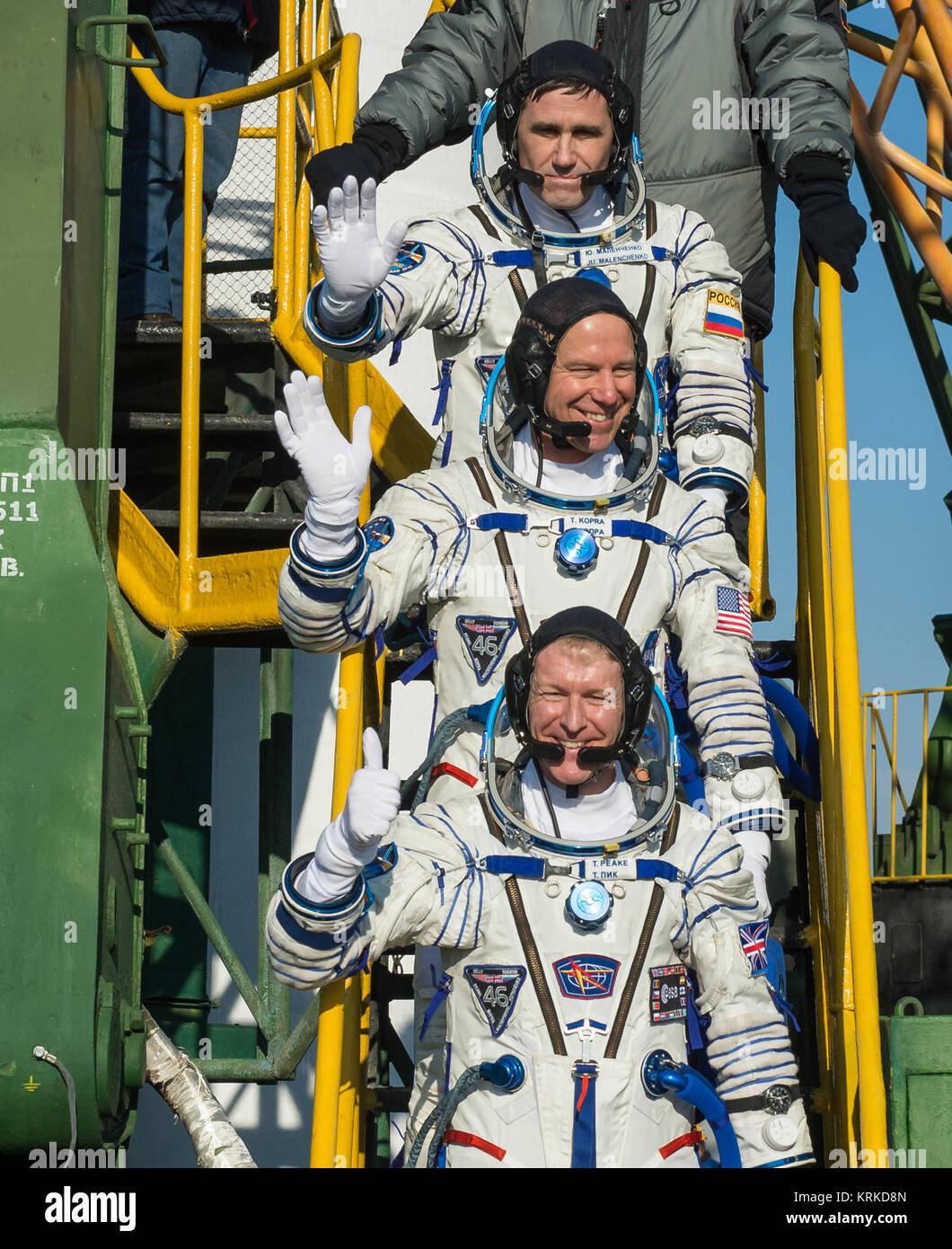 Expedition 46 Soyuz Commander Yuri Malenchenko of the Russian Federal Space Agency (Roscosmos), top, Flight Engineer - Stock Image
