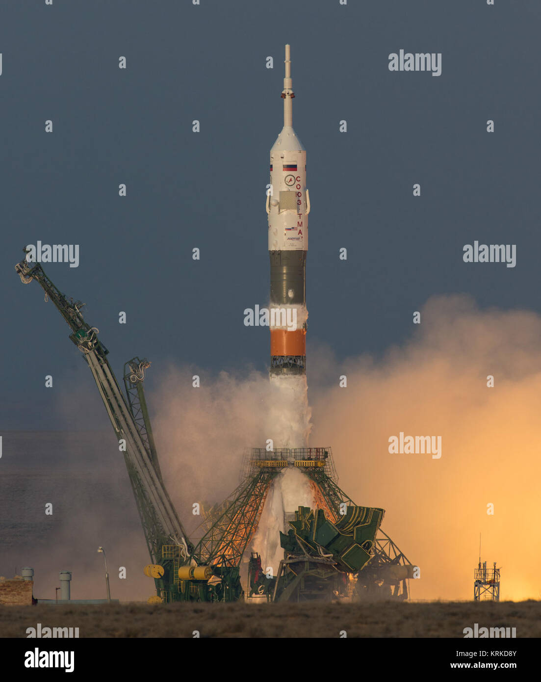 The Soyuz TMA-19M rocket is launched with Expedition 46 Soyuz Commander Yuri Malenchenko of the Russian Federal - Stock Image
