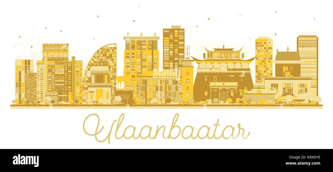Ulaanbaatar Mongolia City skyline golden silhouette. Vector illustration. Simple flat concept for tourism presentation, - Stock Vector