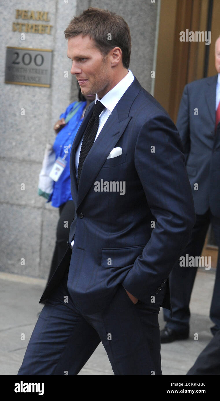 NEW YORK, NY - AUGUST 12: New England Patriots' quarterback Tom Brady and National Football League (NFL) Commissioner - Stock Image