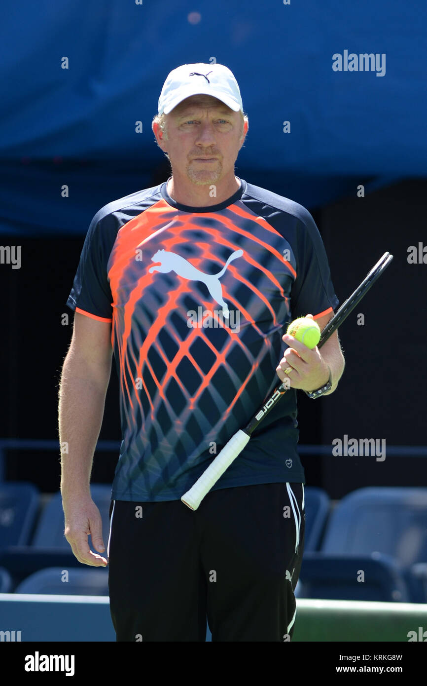 FLUSHING MEADOWS, NY - AUGUST 28:  Novak Djokovic and coach tennis legend Boris Becker practices on center court - Stock Image