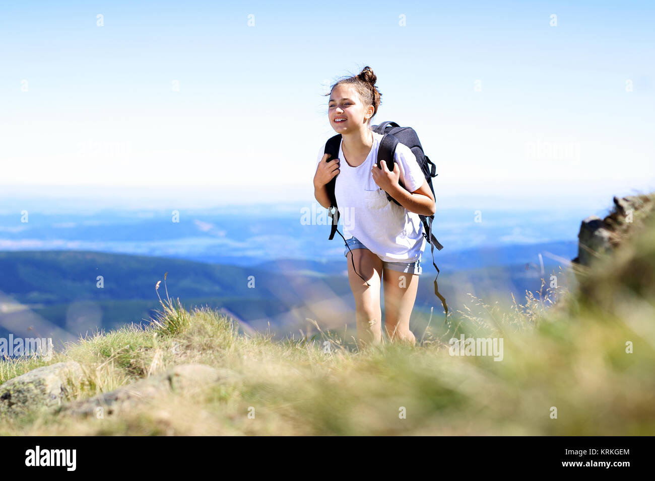 hike in the mountains,walk on the green trail - Stock Image