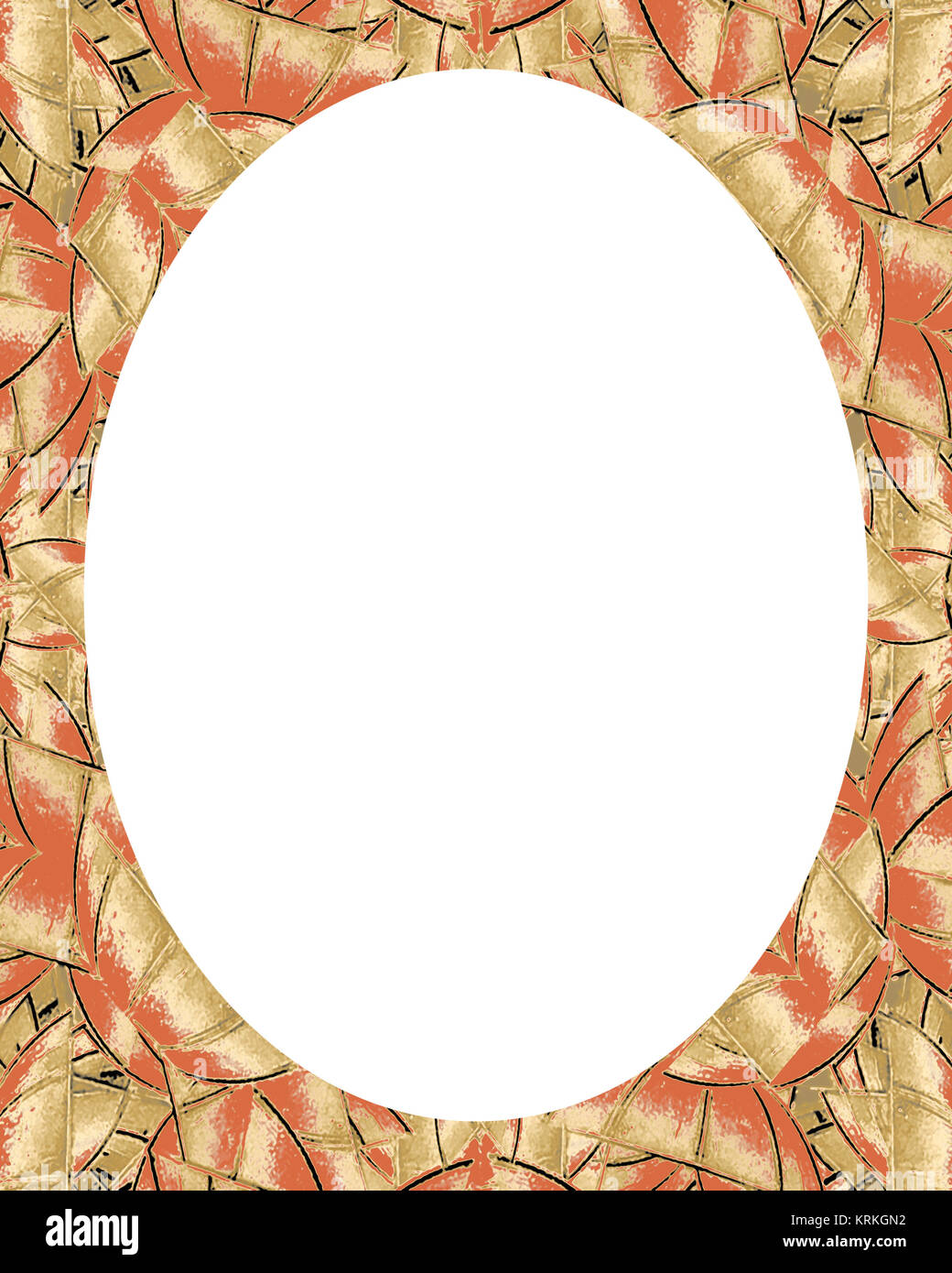 Circle Frame Background with Decorated Borders - Stock Image