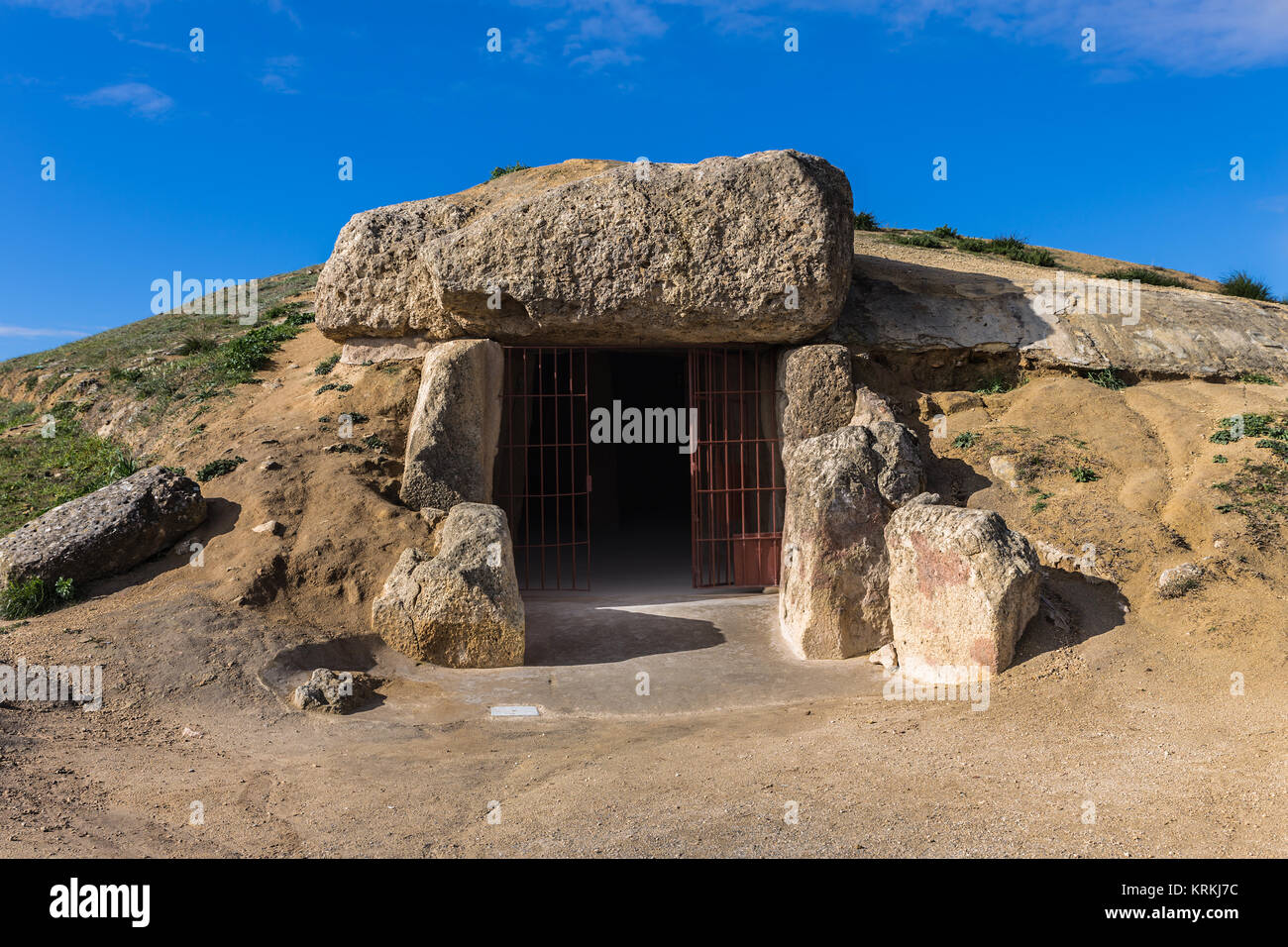 The Dolmen de Menga is in the Spanish town of Antequera (Málaga). It is a covered gallery dolmen and almost - Stock Image