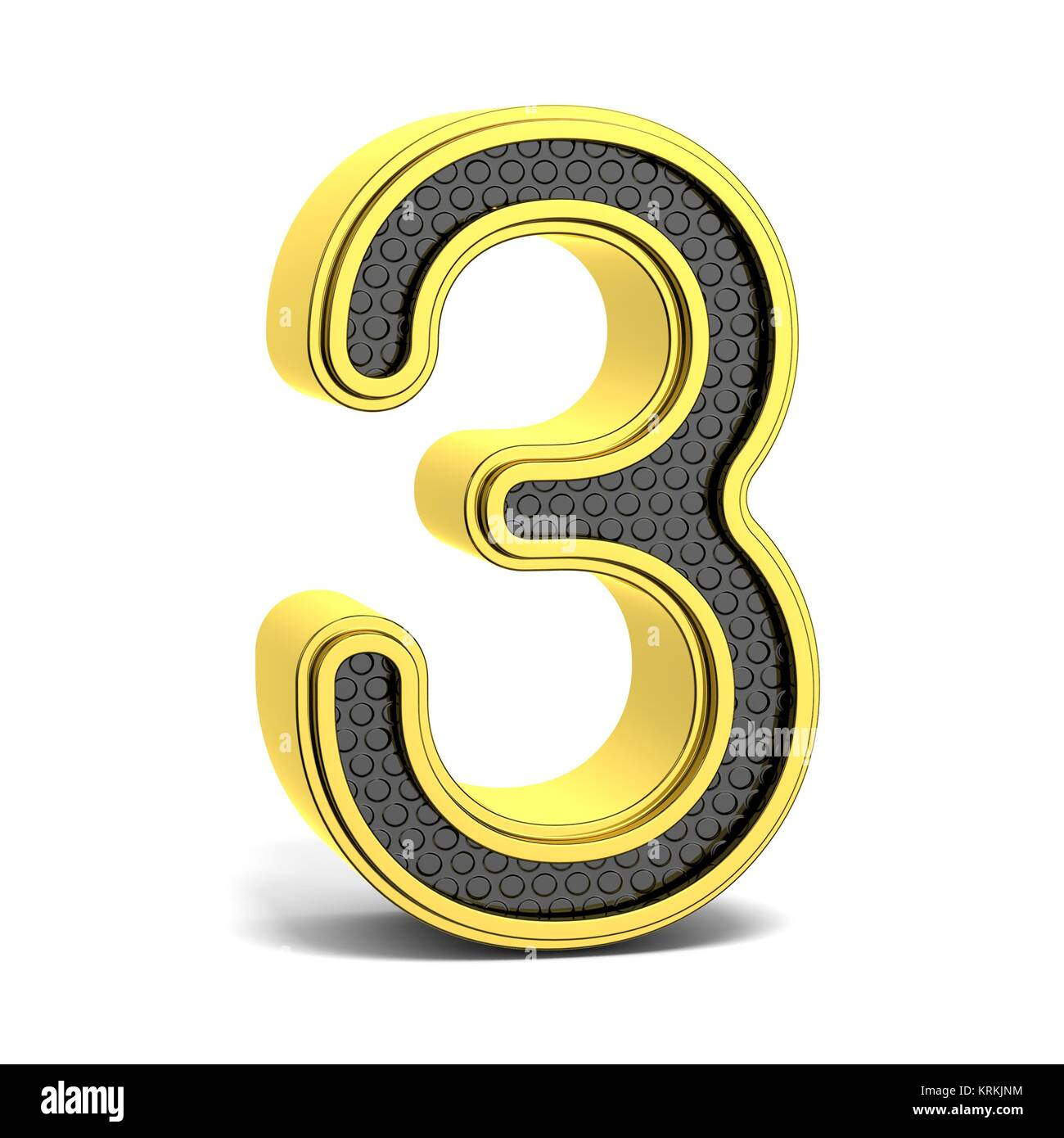Golden and black round font. Number 3. 3D - Stock Image