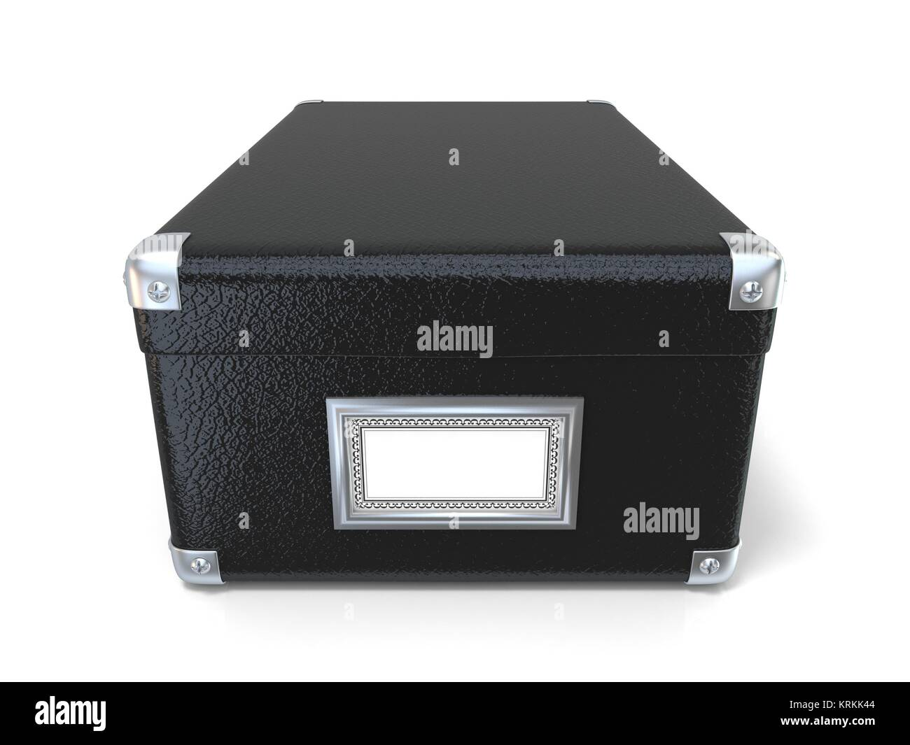 Black leather closed box, with chrome corners and blank