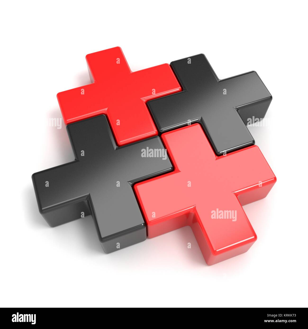 Black And Red Abstract Plus Jigsaw Puzzle Pieces 3D