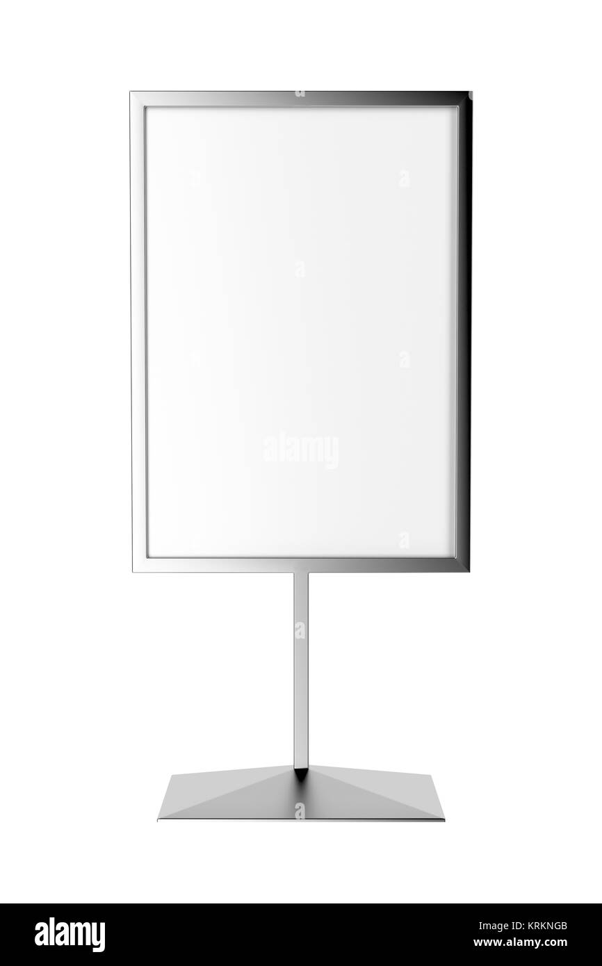 Silver advertising stand - Stock Image