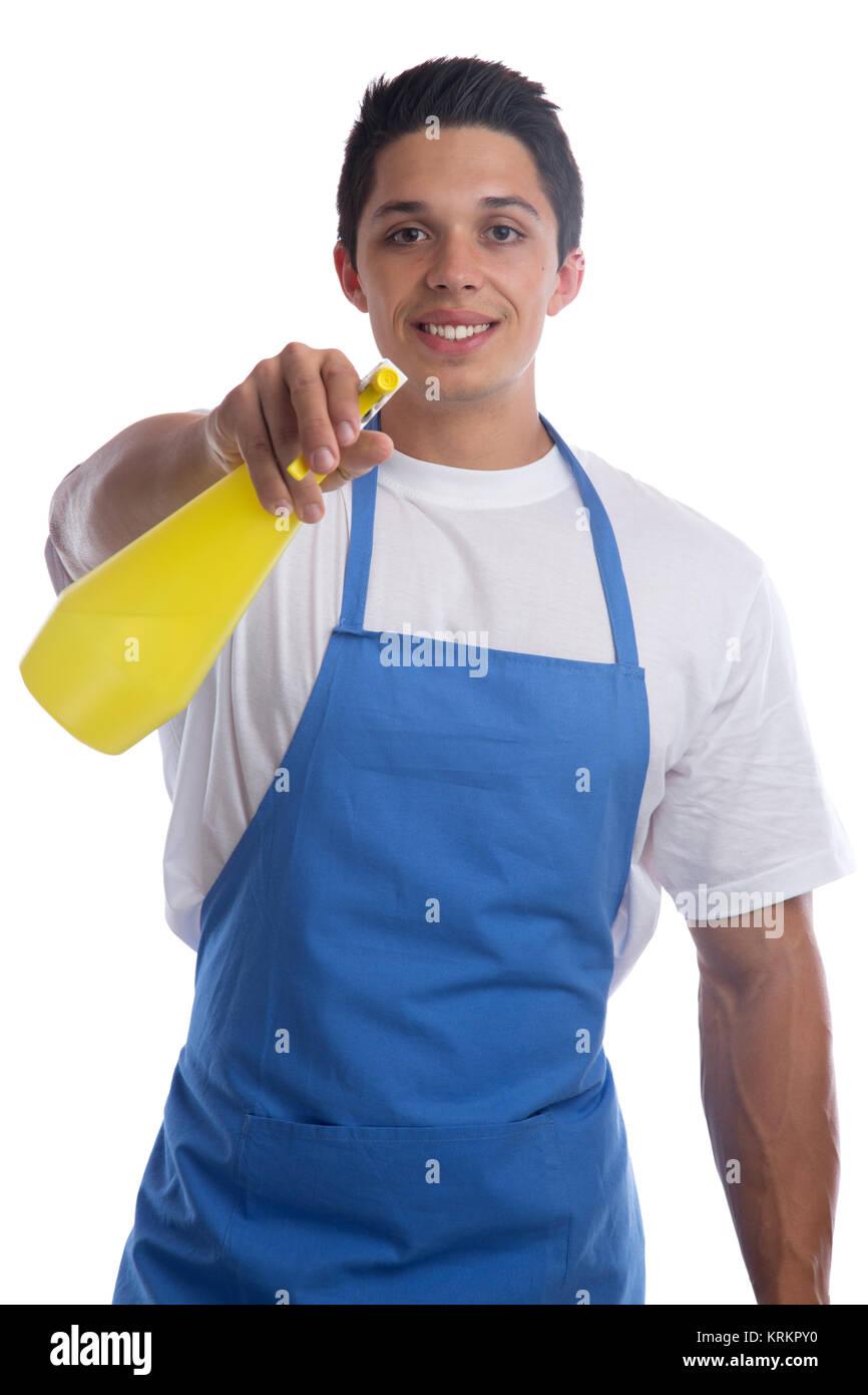 brushing clean cleaner housework professional man cut - Stock Image