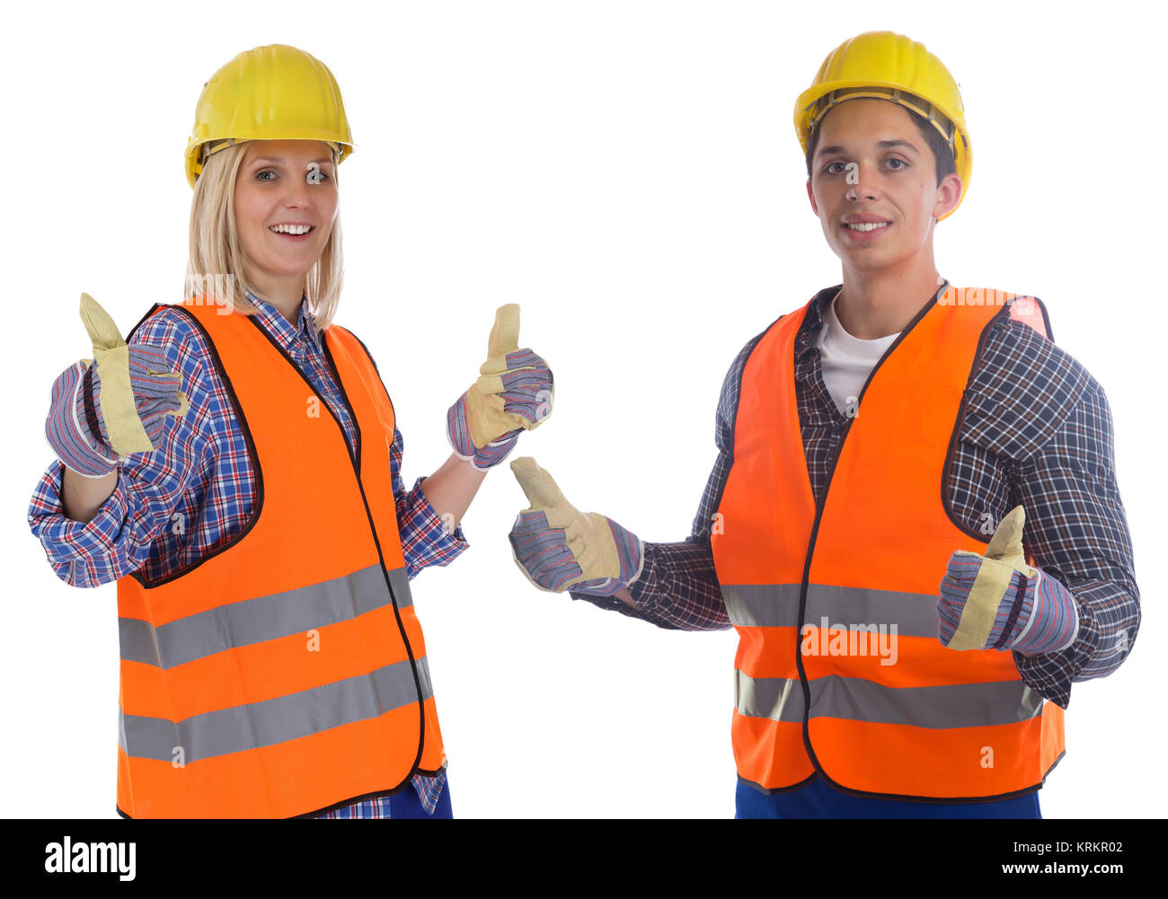 construction worker construction man woman young thumbs up cut - Stock Image