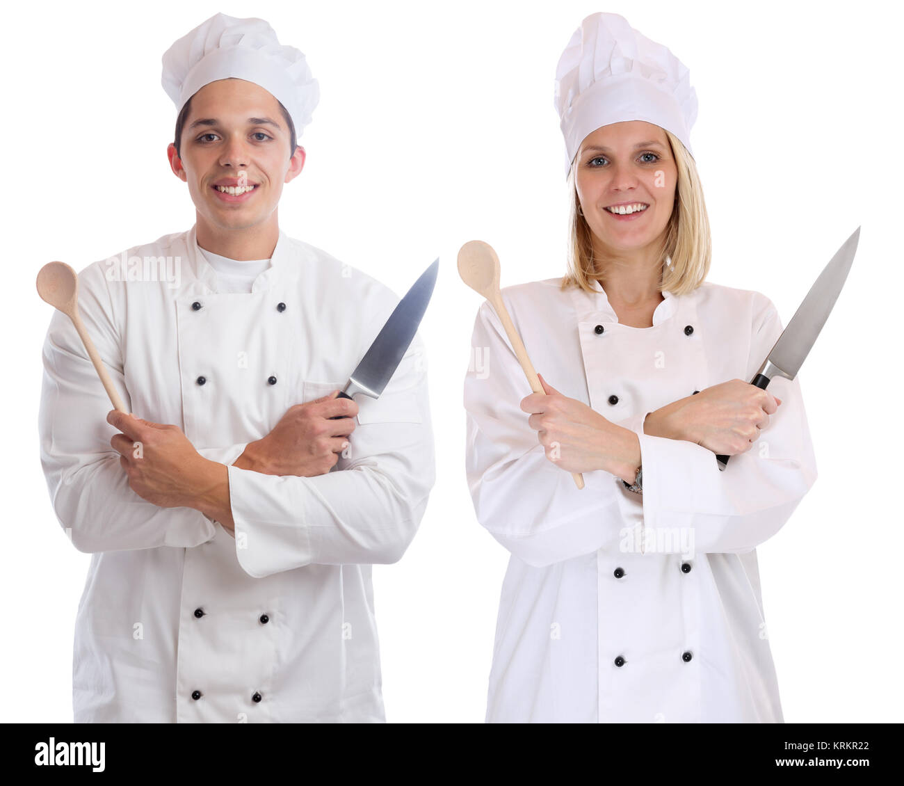 chef cooks young trainee trainees training apprentice cook occupation cut - Stock Image