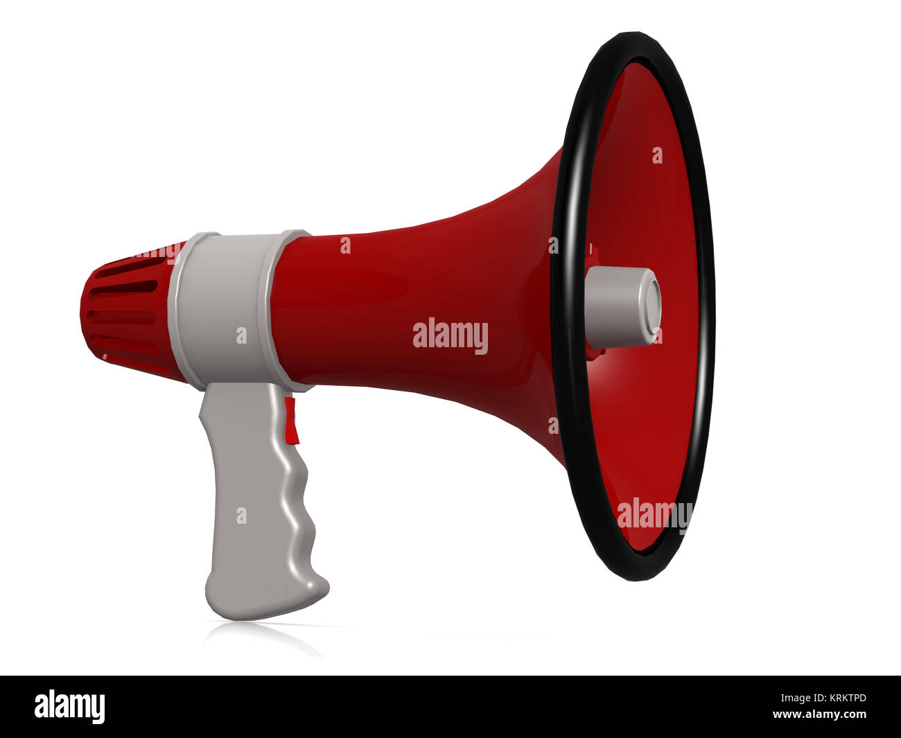 Red megaphone isolated on white - Stock Image