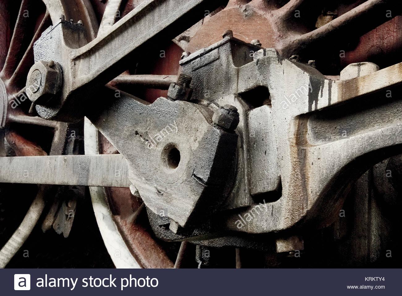 Close up details of a retro train wheel. Stock Photo