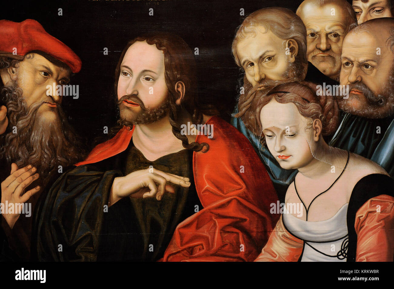 Follower of Lucas Cranach the Elder (16th century). Christ and the Woman Taken in Adultery, 1531. Detail. National - Stock Image