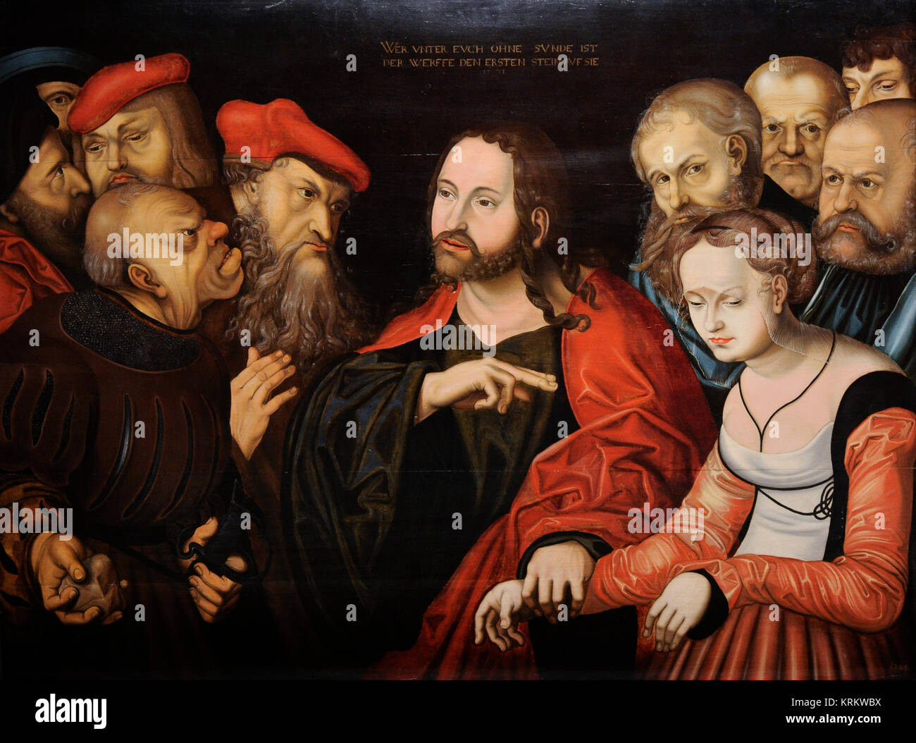 Follower of Lucas Cranach the Elder (16th century). Christ and the Woman Taken in Adultery, 1531. National Gallery. - Stock Image